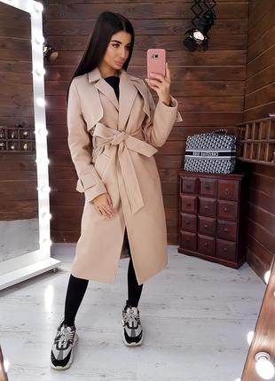 Кашемировое пальто с лацканами приталенное поясом