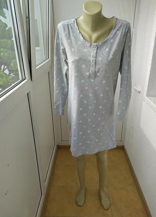 Ночнушка з натуральної тканини в бірюзові сердечка,ночная сорочка