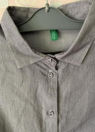 Стильная рубашка под запонки оверсайз benetton s