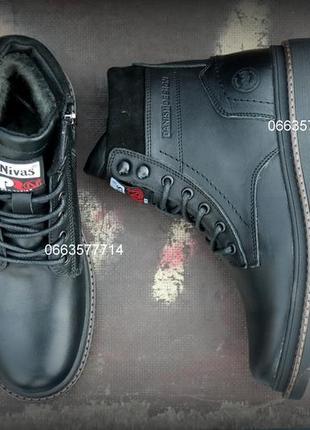 Кожаные зимние мужские ботинки молния высокие для суровых условий натуральная шерсть