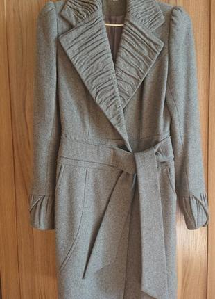 Демисезонное пальто шерстяное серое samang на запах