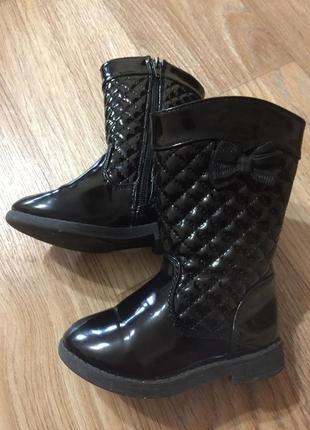 Сапожки детские черные лаковые деми boot collection girls