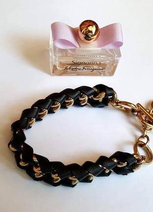 Плетенный кожанный браслет позолоченная цепочка от pilgrim дания