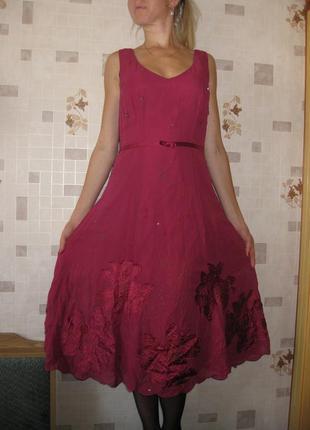 Платье с апликацией шелк от laura ashley р.10