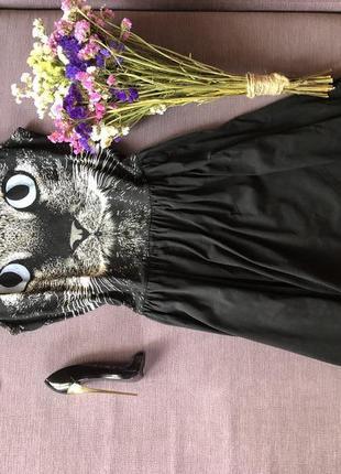 Трендовый сарафан  top shop с личиком котика на груди