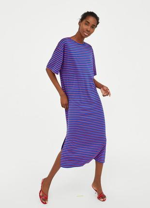 Длинное платье футболка  полоску оверсайз zara
