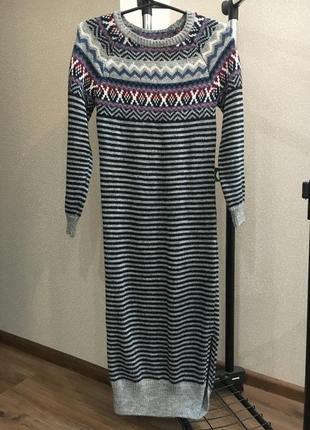 Тёплое платье длинное вязаное