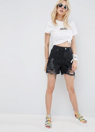 Стильные рваные джинсовые шорты мом asos