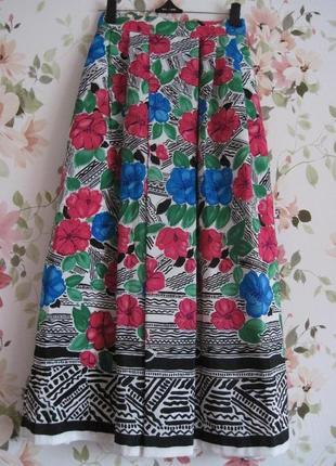 Стильная яркая юбка миди цветочно-геометрический принт alexon