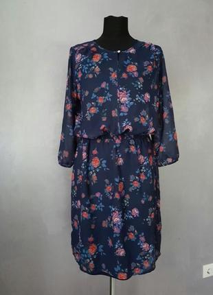 Платье шифоновое миди цветочный принт цветастое