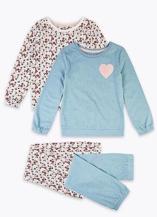 """Набор пижамок """"цветок"""", 2 шт. в уп., marks&spencer. размеры 5-6,6-7 лет"""