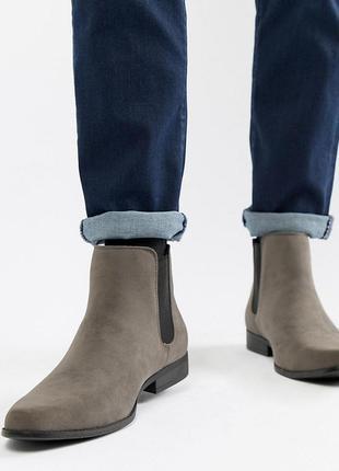 Серые ботинки челси для широкой стопы из искусственной замши asos design