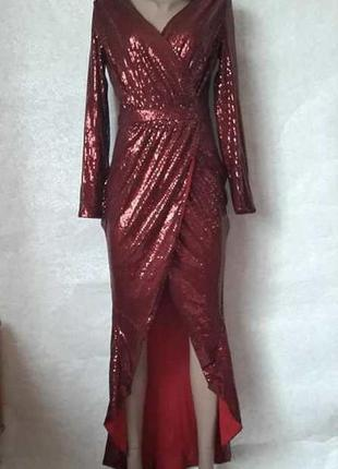 Шикарное нарядное платье в пол на запах в мелкие паетки в красном цвете, размер с-м