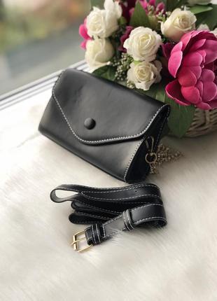 Стильная черная поясная сумочка-клатч 2в1