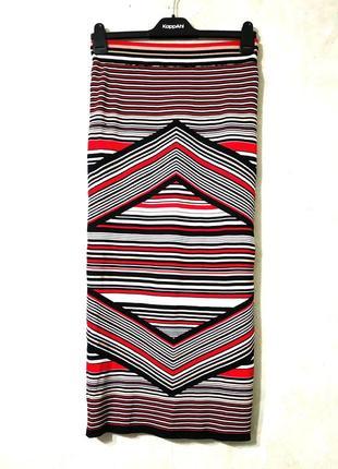 Avant-premiere/актуальная плотная юбка миди резинка в геометрический принт