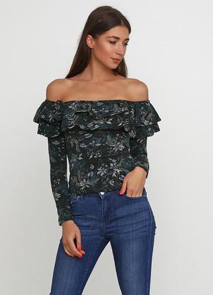 Котоновая блуза с открытыми плечами h&m
