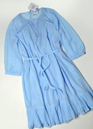 Роскошное нежное платье с плиссированным низом и длинным рукавом