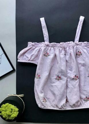 Блуза/блузка/с вышивкой/цветы/открытые плечи/топ