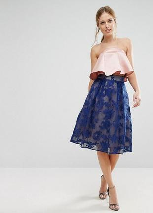 Шикарная синяя кружевная юбка колокол coast