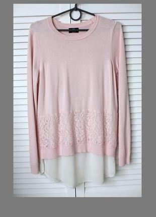 2в1,натуральная кофта блузка, нарядная / деловая, пудровая роза,свободный крой