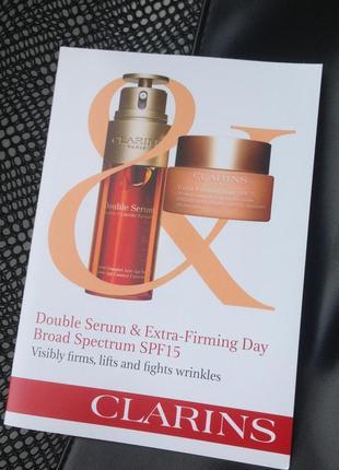 Clarins double serum & extra-firming day  сыворотка и дневной крем