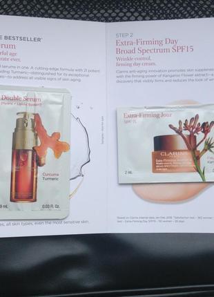 Clarins double serum & extra-firming day  сыворотка и дневной крем два пробника