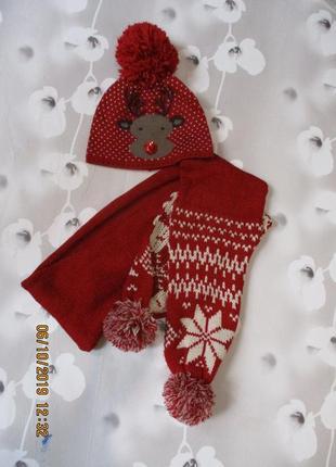 Красивый комплект с зимним узором/олень/шапка+шарф/новогодний/подростковый