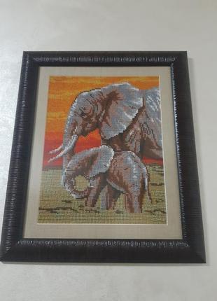 Картина слоник и мама.