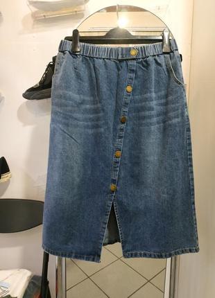 Джинсовая юбка пояс резинка