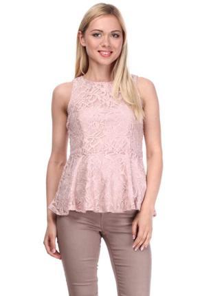 Кружевная блузка цвета розовой пудры разм м