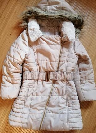 Тёплое зимнее пальто на девочку 5 - 6 лет