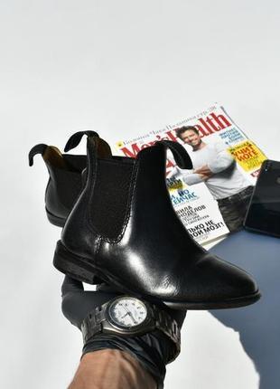 Детские ботинки для девочки туфли челси 5 лет кожаные черные