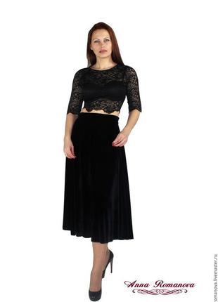 Вечерняя велюровая/бархатная юбка