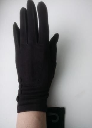 Черные замшевые перчатки р.6-9