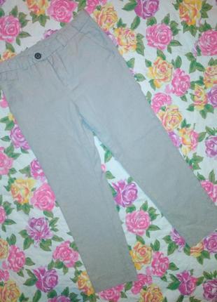 Брюки штаны фирменные h&m светлые весна-осень на мальчика 7-8лет