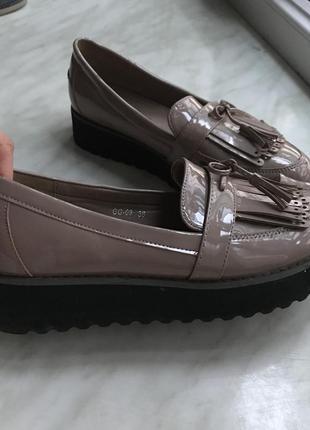 Туфлі на платформі шкіряні (туфли на платформе)