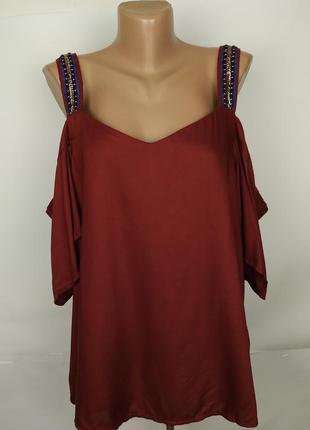 Блуза новая красивая натуральная с открытыми плечами next uk 16/44/xl