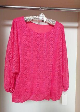 Кружевная блуза свободного кроя кораллового цвета