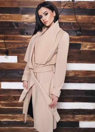 Шикарное брендовое пальто халат на запах с поясом