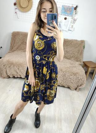 Junction темно синее платье в роскошный золотой принт