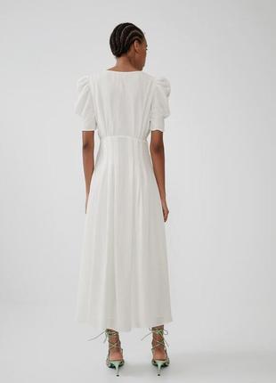 Zara белое платье из жатой ткани, m3 фото
