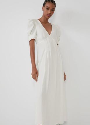 Zara белое платье из жатой ткани, m4 фото