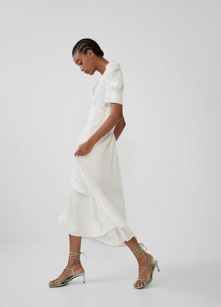 Zara белое платье из жатой ткани, m6 фото