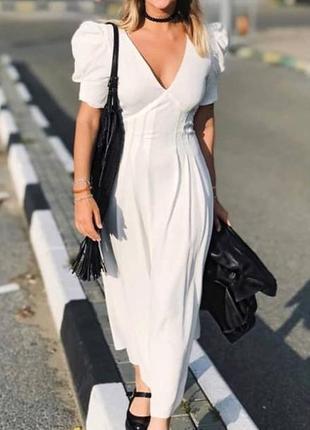 Zara белое платье из жатой ткани, m5 фото