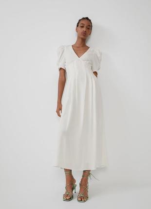 Zara белое платье из жатой ткани, m