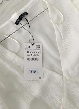 Zara белое платье из жатой ткани, m9 фото