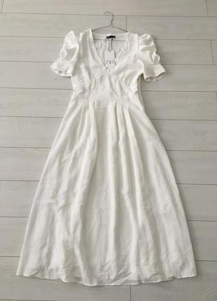 Zara белое платье из жатой ткани, m8 фото