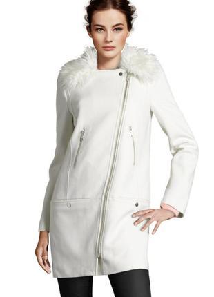 Белое молочное шерстяное пальто косуха h&m