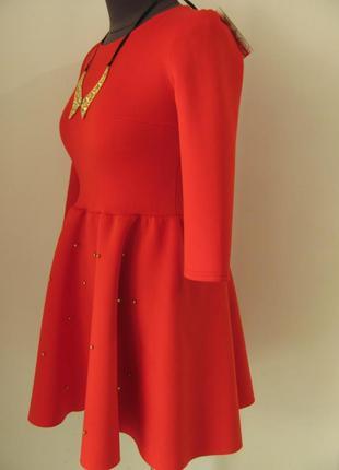 Очень красивое платье с расклешенной юбкой, украшено жемчужинами код 2616м