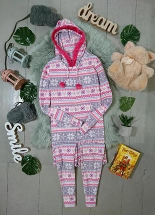 Теплая флисовая пижама кигуруми слип в скандинавскиц узор №7